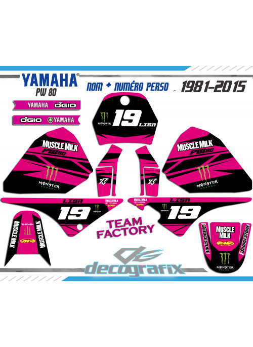 KIT DECO YAMAHA PW80 ROSE FACTORY TEAM