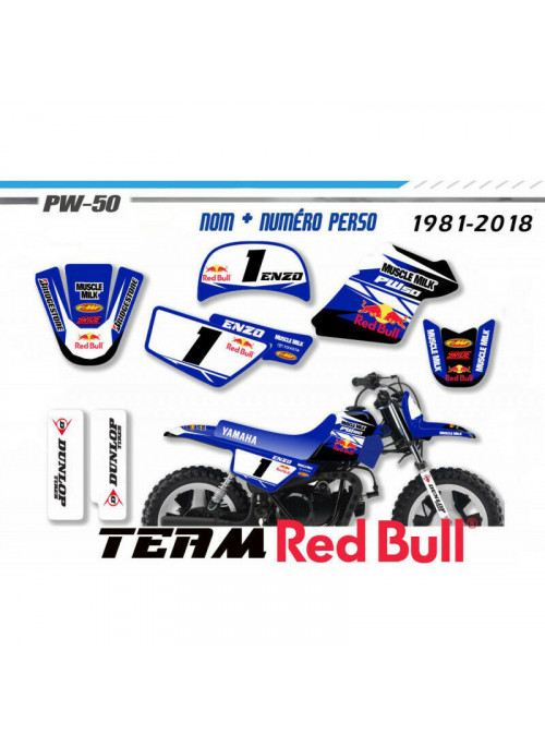Kit déco PW50  yamaha piwi peewee  Factory monster energy Decografix