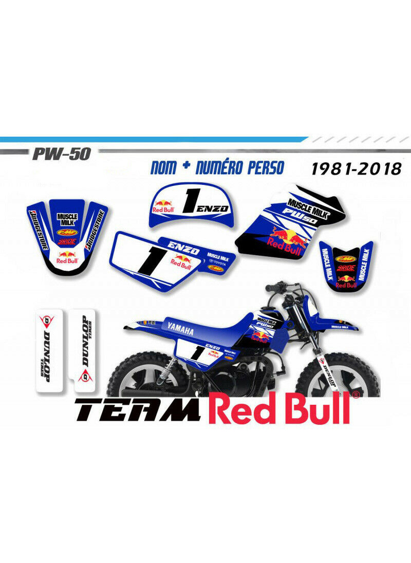 Kit déco pour motos yamaha piwi peewee PW50 Factory  monster energy Decografix