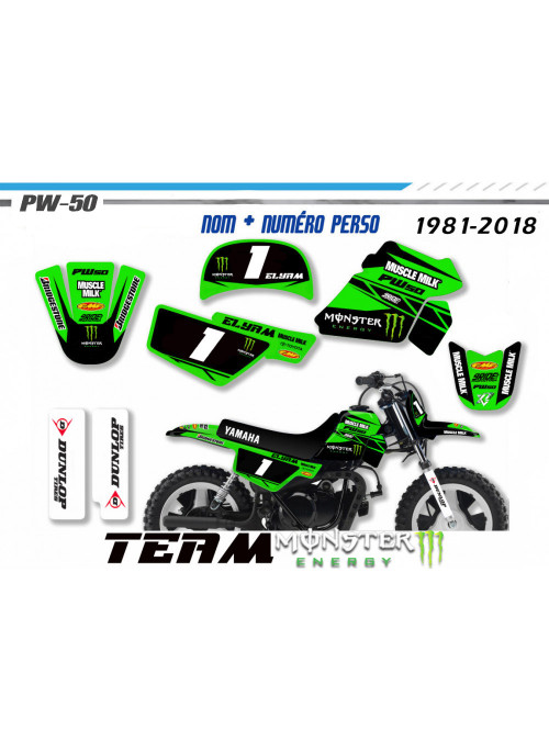 Kit déco  YAMAHA 50PW PW50 PIWI MONSTER ENERGY pour motos YAMAHA