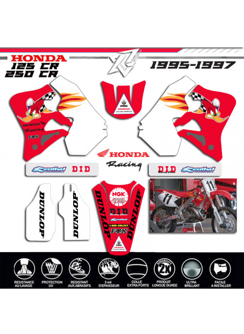 KIT DECO HONDA 125CR 250CR 1995-1996-1997 WOODY WOODPECKER xride.fr