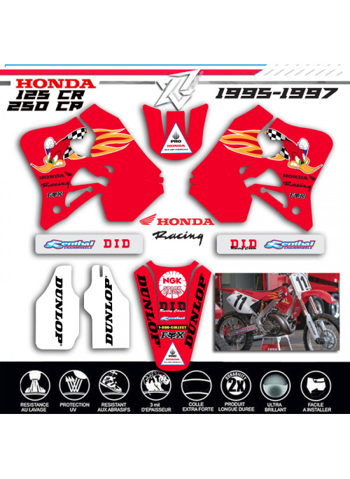 Xride vous propose un KIT DECO ROUGE HONDA 125-CR 250-CR WOODY WOODPECKER