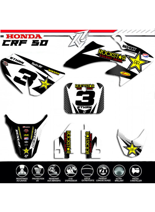 Kit deco Honda crf50 hondacrf50 50 crf noir et blanc kit deco-factory-replica decografix