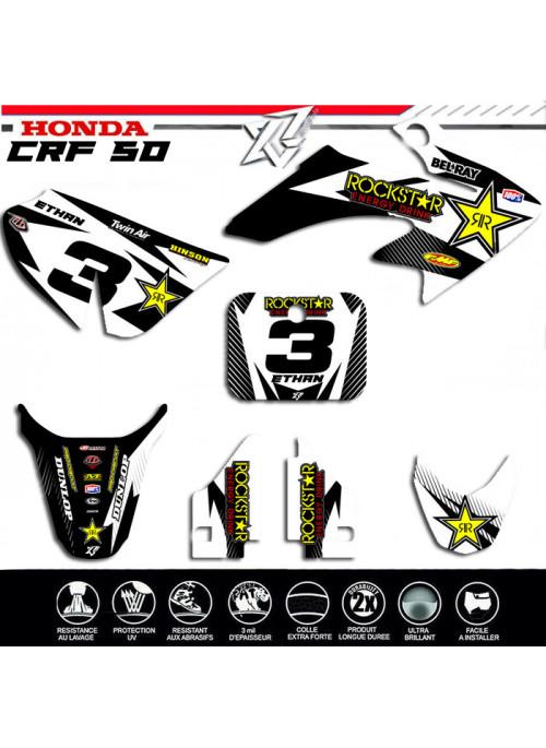 Kit deco Honda crf50 hondacrf50 50 crf noir et blanc kit deco-factory-replica decografix