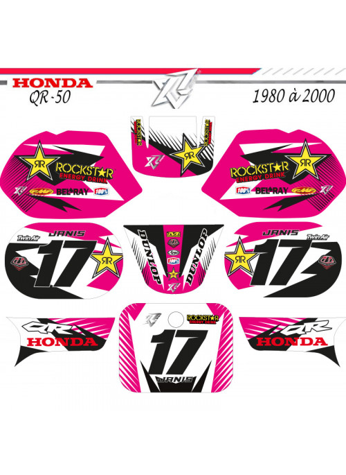 Kit deco QR50 HONDA ROSE ROCKSTAR ENERGY decografix Rose